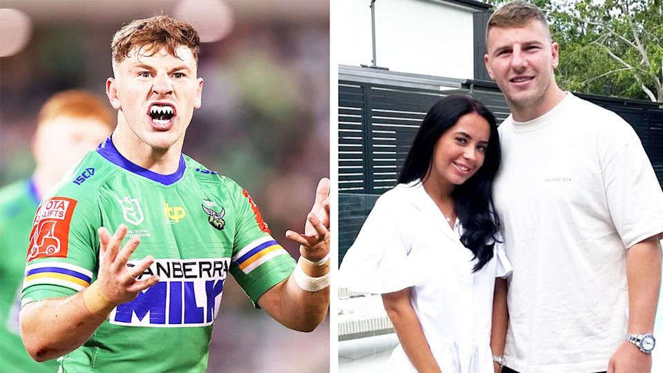 NRL star George Williams (pictured left) fuming during a game and (pictured right) with his partner.