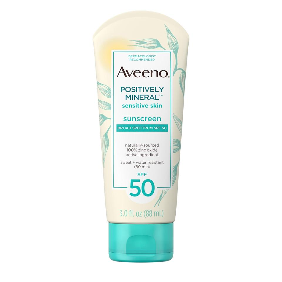 """As far as <a href=""""https://www.allure.com/gallery/best-natural-organic-sunscreen?mbid=synd_yahoo_rss"""" rel=""""nofollow noopener"""" target=""""_blank"""" data-ylk=""""slk:sensitive skin"""" class=""""link rapid-noclick-resp"""">sensitive skin</a> goes, Aveeno's Positively Mineral Sensitive Skin Sunscreen Broad Spectrum SPF 50 is the way to go. It's formulated with 100 percent zinc oxide, sinks easily into skin, and doesn't leave behind any greasy residue. $8, Amazon. <a href=""""https://www.amazon.com/Aveeno-Positively-Lightweight-Non-Comedogenic-Travel-Size/dp/B07HS25PSG"""" rel=""""nofollow noopener"""" target=""""_blank"""" data-ylk=""""slk:Get it now!"""" class=""""link rapid-noclick-resp"""">Get it now!</a>"""