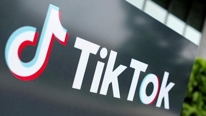 The TikTok logo is pictured outside the company's US head office in Culver City, California.