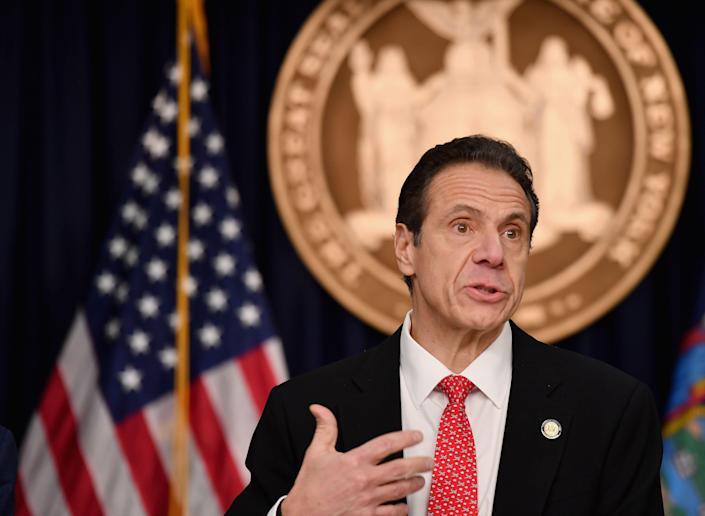 New York Governor Andrew Cuomo speaks during a press conference to discuss the first positive case of novel coronavirus or COVID-19 in New York State.