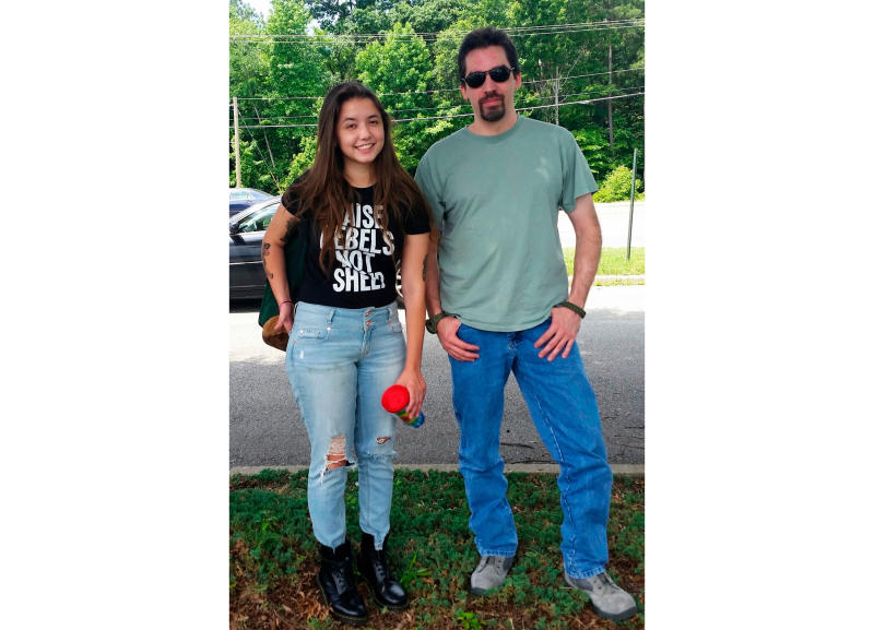 This June 2016 image provided by Alyssa Pladl, shows Katie Pladl and her father Steven Pladl in Richmond, Va. Steven Pladl, was charged with incest after he impregnated his biological daughter, Katie. Pladl killed the 7-month-old son he had with Katie, then killed Katie and her adoptive father in Connecticut and killed himself in New York. (Alyssa Pladl via AP)