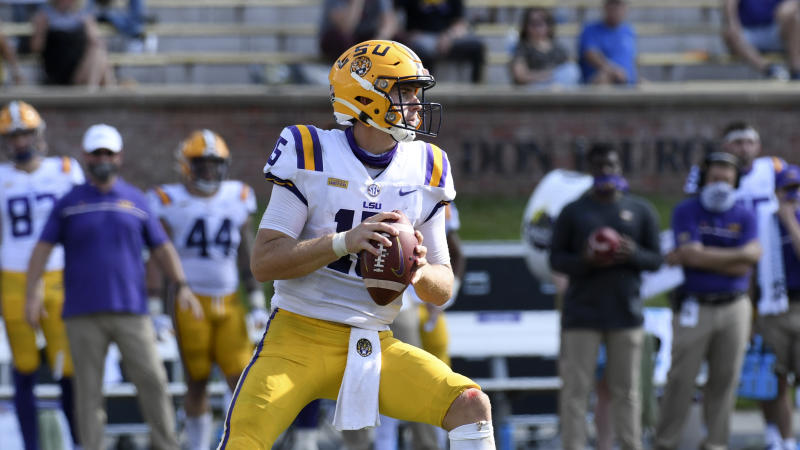 LSU quarterback Myles Brennan looks to pass during the second half of an NCAA college football game against Missouri Saturday, Oct. 10, 2020, in Columbia, Mo. Missouri upset LSU 45-41. (AP Photo/L.G. Patterson)
