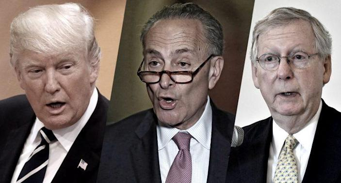 Donald Trump, Chuck Schumer and Mitch McConnell. (Photos: AP, Getty Images)