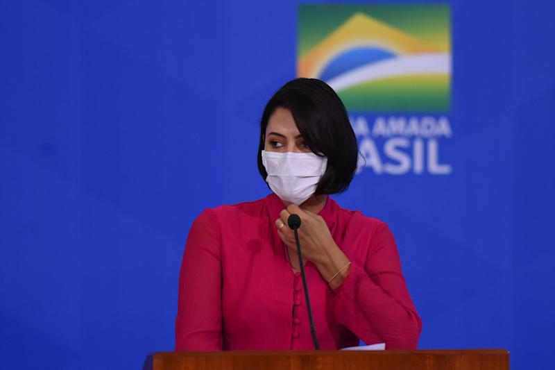 Brazil's first lady Michelle Bolsonaro attends the launching ceremony of a campaign to support rural women at Palace in Brasilia, Brazil, on Wednesday, July 29, 2020. Brazil's government announced on July 30 that first lady Michele Bolsonaro tested positive for Coronavirus (COVID-19). (Photo by Andre Borges/NurPhoto via Getty Images)