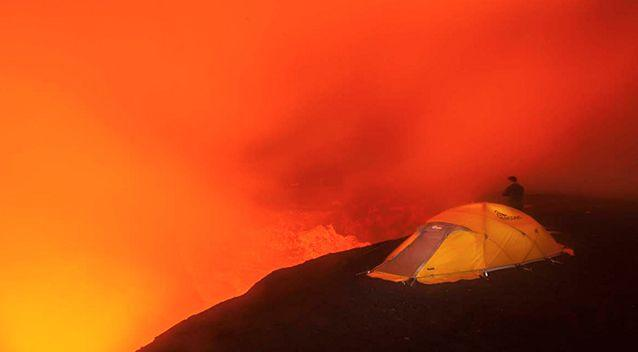 An epic shot of the tents inside the volcano. Photo: Bradley Ambrose