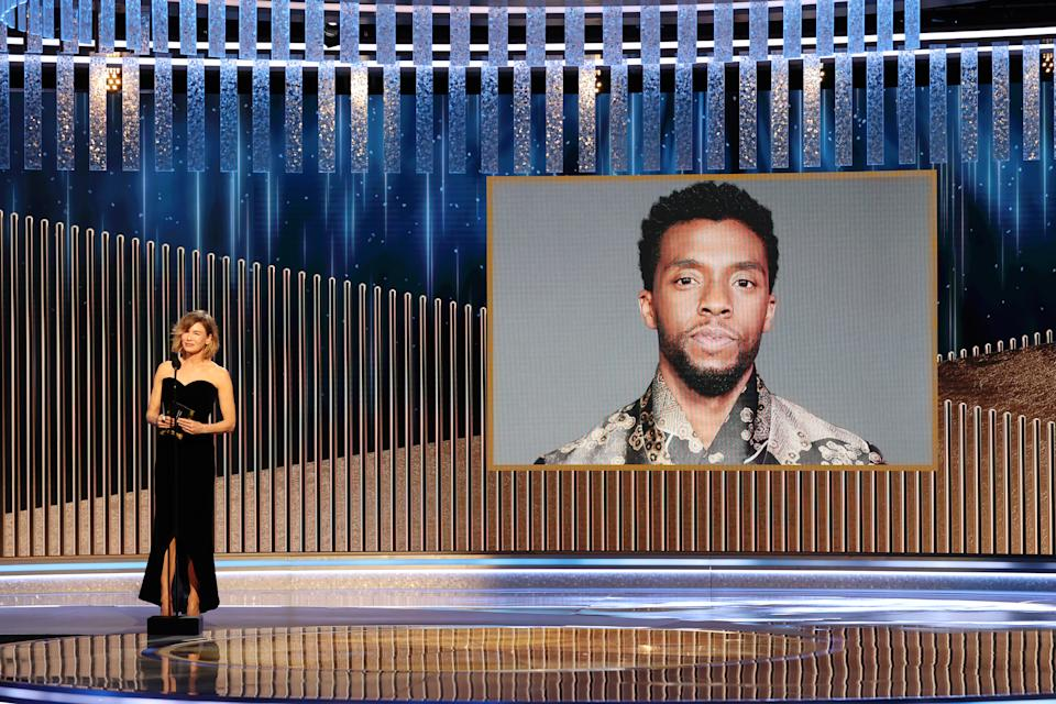 Renée Zellweger announces the late Chadwick Boseman as winner of the Best Actor - Motion Picture Drama award for 'Ma Rainey's Black Bottom' onstage at the 78th Annual Golden Globe Awards