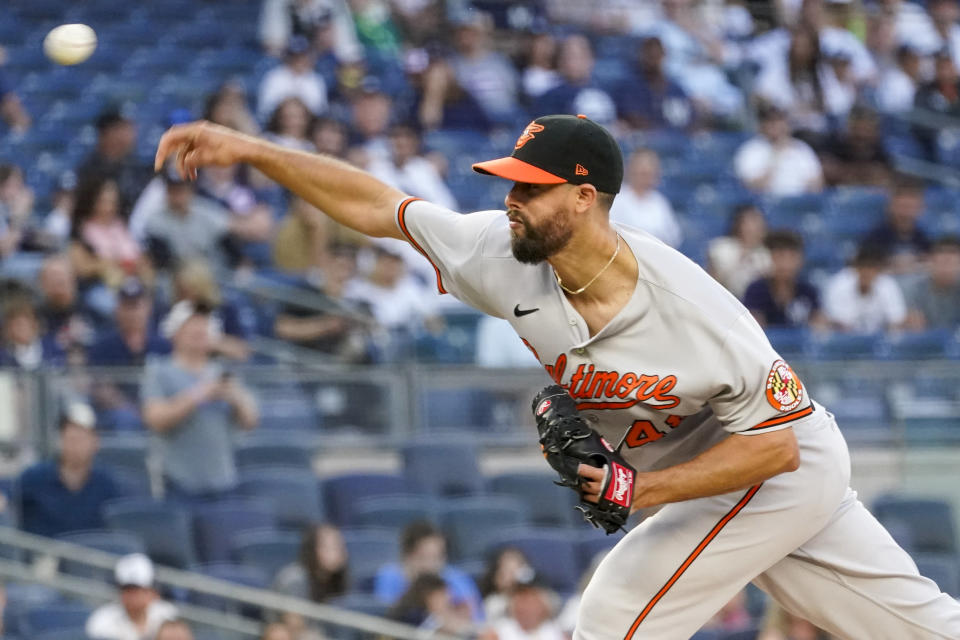 Baltimore Orioles pitcher Jorge Lopez delivers in the first inning of a baseball game against the New York Yankees, Monday, Aug. 2, 2021, in New York. (AP Photo/Mary Altaffer)