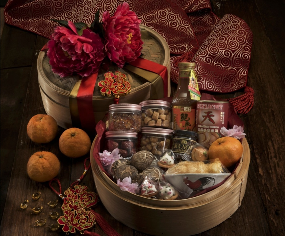 The Exquisite Treasures hamper that comes in a single-tier bamboo steamer. — Photo courtesy of Vanessa Yoong