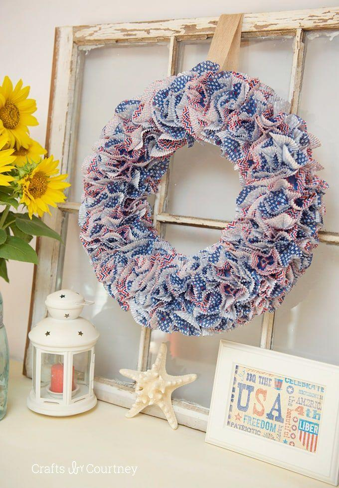 """<p>Give red, white, and blue baking supplies a second life in this 4th of July wreath in a subtle color palette.</p><p><strong>Get the tutorial at <a href=""""https://www.craftsbycourtney.com/how-to-crafts/patriotic-cupcake-liner-wreath-for-july-4th/"""" rel=""""nofollow noopener"""" target=""""_blank"""" data-ylk=""""slk:Crafts By Courtney"""" class=""""link rapid-noclick-resp"""">Crafts By Courtney</a>.</strong></p><p><strong><a class=""""link rapid-noclick-resp"""" href=""""https://www.amazon.com/Fox-Run-7199-Patriotic-Multicolor/dp/B01N6H8QJN/ref=sr_1_19?dchild=1&keywords=4th+of+july+cupcake+liners&qid=1622043273&s=home-garden&sr=1-19&tag=syn-yahoo-20&ascsubtag=%5Bartid%7C10050.g.4464%5Bsrc%7Cyahoo-us"""" rel=""""nofollow noopener"""" target=""""_blank"""" data-ylk=""""slk:SHOP PATRIOTIC CUPCAKE LINERS"""">SHOP PATRIOTIC CUPCAKE LINERS</a></strong></p>"""