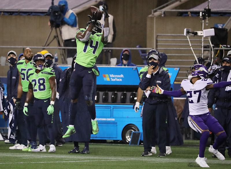 DK Metcalf #14 of the Seattle Seahawks