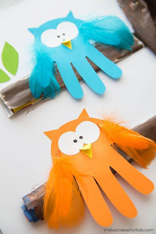 """<p>Tiny hands make for the cutest birds. Once your kids trace their handprints on colored paper, they can decorate them with feathers, eyeballs and of course, a beak.</p><p><em><a href=""""https://www.thebestideasforkids.com/owl-handprint/"""" rel=""""nofollow noopener"""" target=""""_blank"""" data-ylk=""""slk:Get the tutorial at The Best Ideas for Kids »"""" class=""""link rapid-noclick-resp"""">Get the tutorial at The Best Ideas for Kids »</a></em></p>"""
