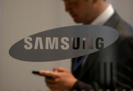 FILE PHOTO: The logo of Samsung Electronics is seen at its office building in Seoul
