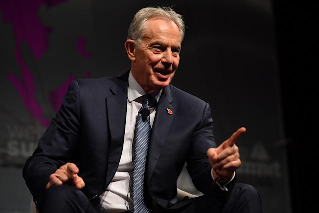 Former UK prime minister Tony Blair speaking on the Future Societies stage during the opening day of Web Summit 2019 at the Altice Arena in Lisbon, Portugal. Photo: Piaras Ó Mídheach/Sportsfile for Web Summit via Getty Images