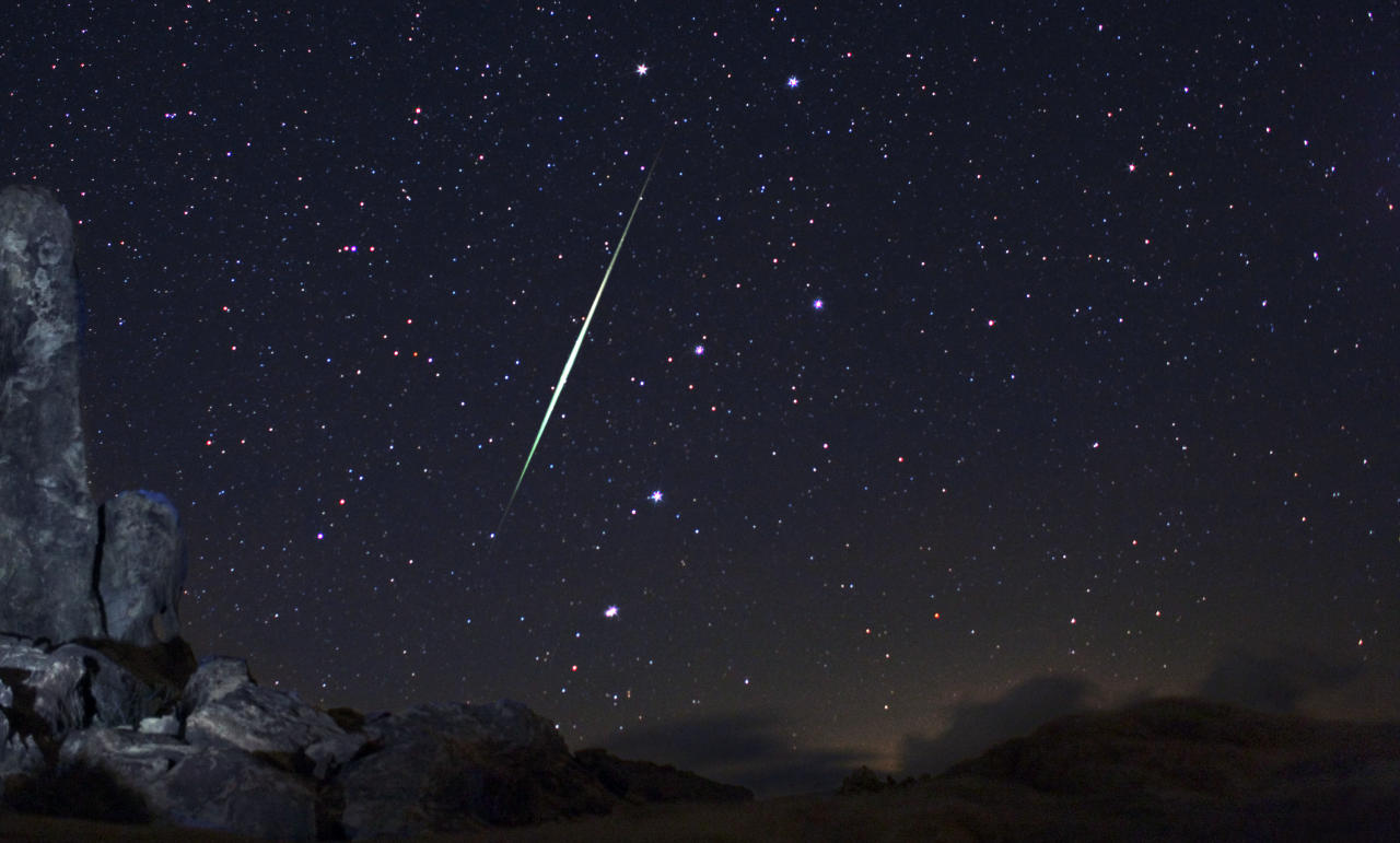 In this picture provided by Wally Pacholka of AstroPics.com, a Geminid fireball explodes over the Mojave Desert in the Jojave Desert, Calif. on Dec. 13, 2009. In mid-December 2010, the Geminid meteor shower will make its annual appearance, just in time for Christmas. Astronomers consider it the best meteor shower of 2010, with more than 100 meteors streaking through the night sky every hour.