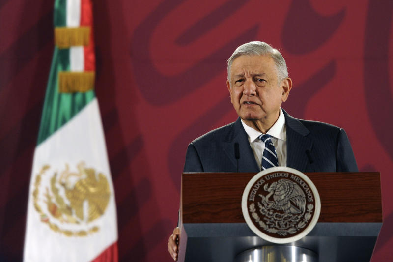 MEXICO CITY, MEXICO - JANUARY 21: President of Mexico Andres Manuel Lopez Obrador speaks of guaranteeing access to Health for the Mexican population during the daily morning press briefing at Palacio Nacional on January 21, 2020 in Mexico City, Mexico. (Photo by Pedro Gonzalez Castillo/Getty Images)