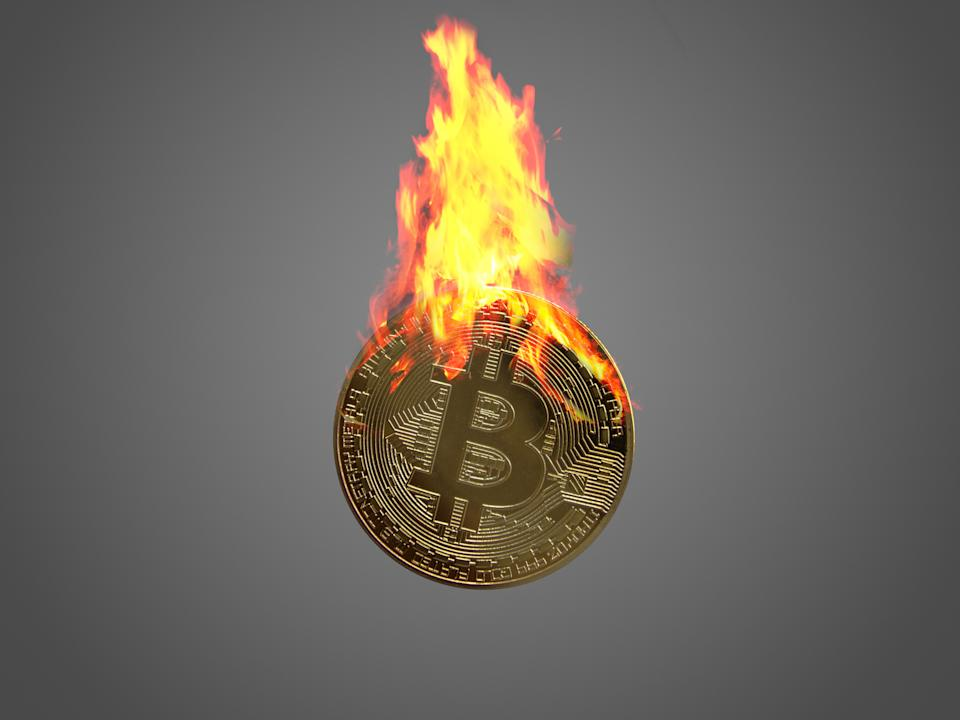 Image of Bitcoin coin burning