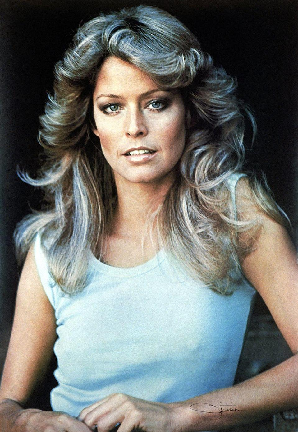 """<p>Farrah Fawcett and her unforgettable hair on <em><a href=""""http://www.goodhousekeeping.com/beauty/anti-aging/news/a35140/jaclyn-smith-2015/"""" rel=""""nofollow noopener"""" target=""""_blank"""" data-ylk=""""slk:Charlie's Angels"""" class=""""link rapid-noclick-resp"""">Charlie's Angels</a></em> inspired countless women to highlight their hair and blow it out into full, sweeping waves.</p>"""