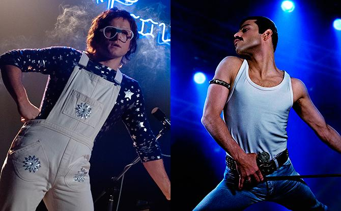 Taron Egerton en Rocketman (Crédito: David Appleby; © 2018 Paramount Pictures. All Rights Reserved) y Rami Malek en Bohemian Rhapsody (Crédito: Nick Delaney - © 2017 Twentieth Century Fox Film Corporation. All Rights)