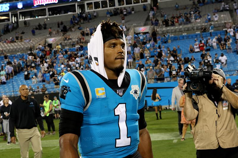 Cam Newton could be sidelined for more than a month with a Lisfranc injury in his left foot. (Getty Images)