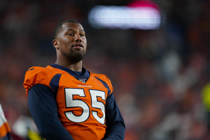 FILE - In this Aug. 19, 2019, file photo, Denver Broncos outside linebacker Bradley Chubb looks on during an NFL preseason football game between the Denver Broncos and the San Francisco 49ers in Denver. Many players polled by The Associated Press over the last couple of weeks say they are scared to return to work without a cure or a vaccine for the coronavirus. By and large, however, those same players say they trust the protocols the NFL will have in place by the time practices resume and games return. (AP Photo/Jack Dempsey, File)
