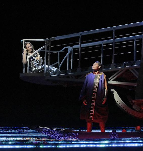 """In this undated image released by the Metropolitan Opera, Susanna Phillips, left, and Tamara Mumford appear in Kaija Saariaho's """"L'Amour de Loin,"""" in New York. When the first notes of Saariaho's """"L'Amour de Loin (Love from Afar)"""" are played at the Metropolitan Opera on Thursday, Dec. 1, 2016, it will mark only the second staged work by a woman composer in the company's history, and the first since 1903. (Ken Howard/Metropolitan Opera via AP)"""