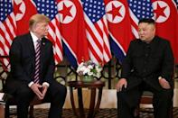 U.S. President Donald Trump and North Korean leader Kim Jong Un sit down before their one-on-one chat during the second U.S.-North Korea summit at the Metropole Hotel in Hanoi, Vietnam February 27, 2019. REUTERS/Leah Millis