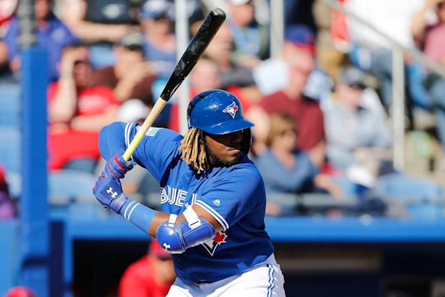 Breaking news: Vladimir Guerrero Jr. still rips minor-league pitching apart. (Photo by Michael Reaves/Getty Images)