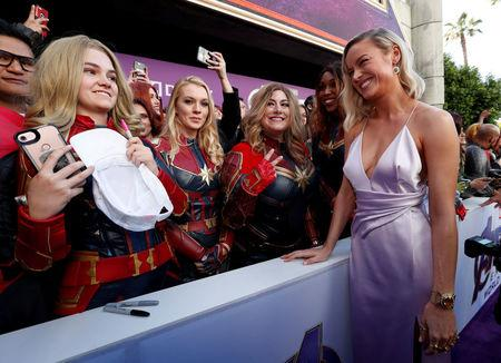 "Cast member Brie Larson poses with fans on the red carpet at the world premiere of the film ""The Avengers: Endgame"" in Los Angeles"