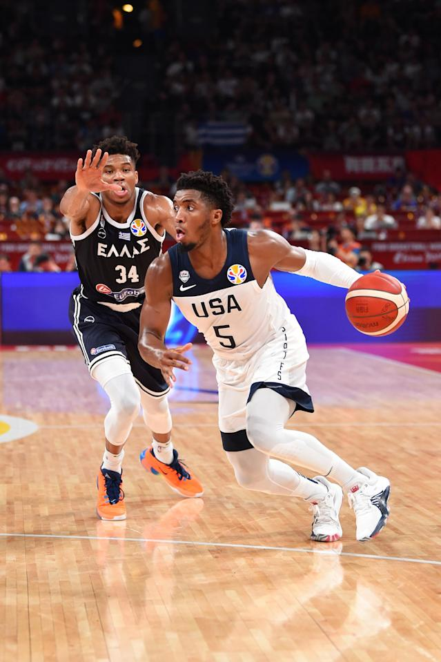 SHENZHEN, CHINA - SEPTEMBER 7: Donovan Mitchell #5 of USA drives to the basket against Greece during the Second Round of the 2019 FIBA Basketball World Cup on September 7, 2019 at the Shenzhen Bay Sports Center in Shenzhen, China. (Photo by David Dow/NBAE via Getty Images)