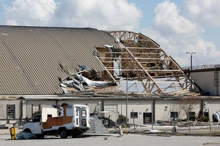 FILE PHOTO: Damage caused by Hurricane Michael is seen on Tyndall Air Force Base, Florida, U.S., October 16, 2018.   REUTERS/Terray Sylvester/File Photo