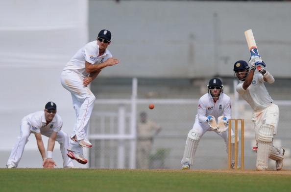 "MUMBAI, INDIA - NOVEMBER 01: Alastair Cook of England takes evasive action from a shot by Ajinkya Rahane (R) of India 'A"" bats as Matt Prior of England looks on during the final day of the first practice match between England and India 'A' at the CCI (Cricket Club of India) ground, on November 1, 2012 in Mumbai, India.  (Photo by Pal Pillai/Getty Images)"