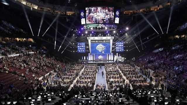"""A general view of the draft floor prior to the first round of the 2019 NHL draft at Rogers Arena on June 21 in Vancouver. <span class=""""copyright"""">(Rich Lam / Getty Images)</span>"""