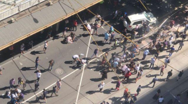 An aerial shot shows the aftermath the vehicle left in Melbourne's CBD. Source: Twitter/ Terminus Value