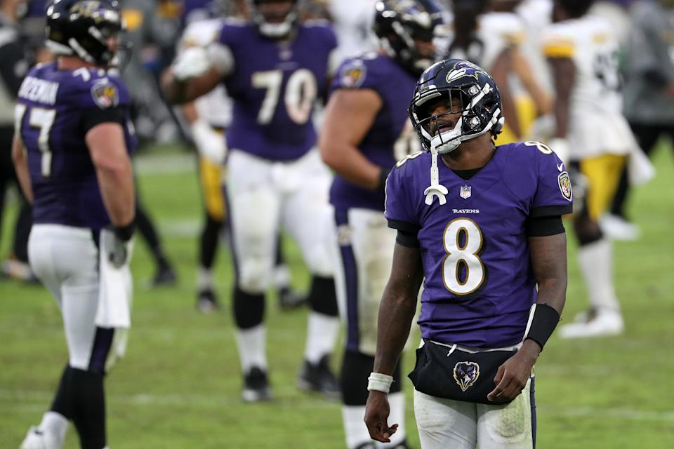 The NFL has already bent over backward to keep Ravens-Steelers on the schedule, and reigning MVP Lamar Jackson (8) won't even play. (Photo by Patrick Smith/Getty Images)