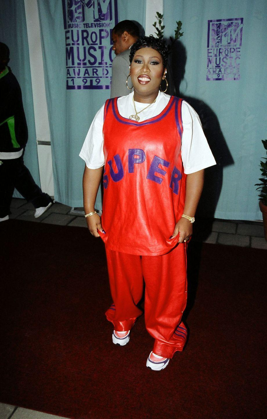 <p>At the MTV Europe Music Awards, Missy wore this incredible jersey with matching sweatpants, a white T-shirt, and, of course, some statement gold jewelry. </p>