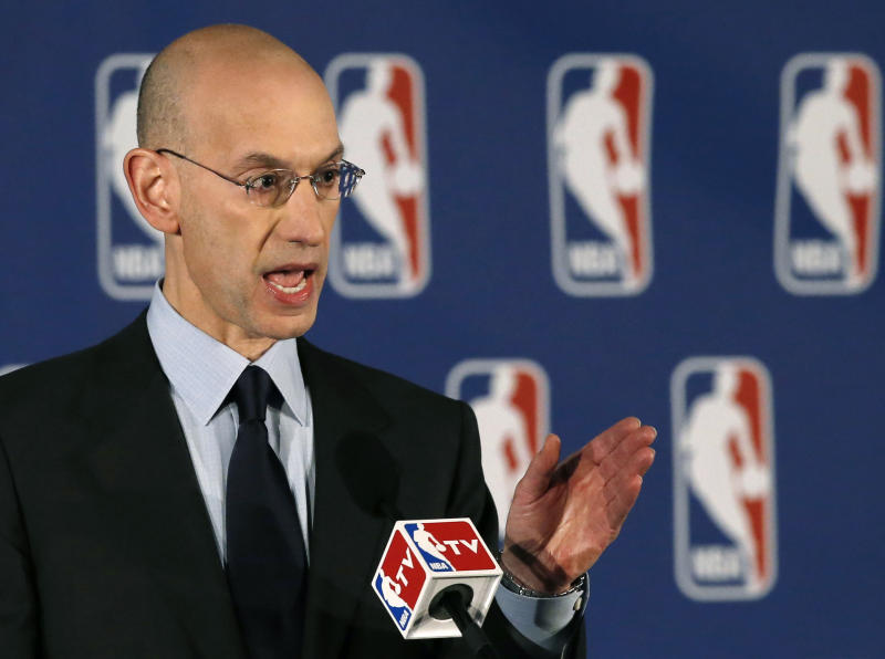 NBA Commissioner Adam Silver addresses the media during a news conference in New York, Tuesday, April 29, 2014. Silver announced that Los Angeles Clippers owner Donald Sterling has been banned for life by the league, in response to racist comments the league says he made in a recorded conversation. (AP Photo/Kathy Willens)