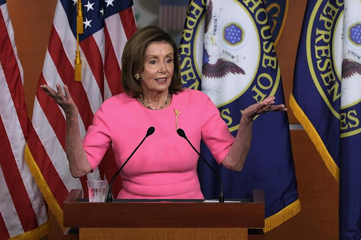 Speaker of the House Nancy Pelosi, D-Calif., holds a news conference at the U.S. Capitol on Thursday.
