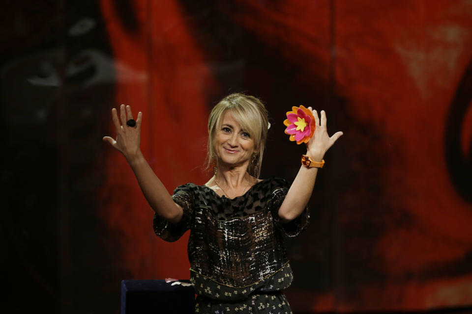 Luciana Litizzetto gestures during the taping of the Italian State RAI TV program