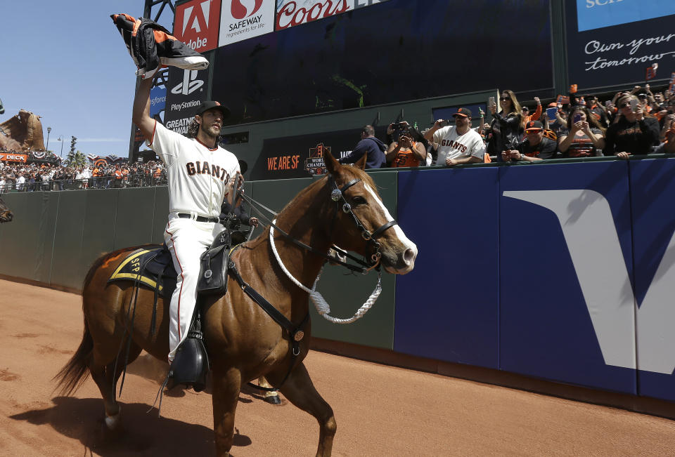 Madison Bumgarner likes his horses, which is one of the reasons he picked the D-backs. (AP Photo/Jeff Chiu, Pool)