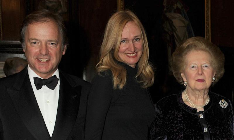 Sasha Swire with her husband Hugo and Margaret Thatcher in 2010.