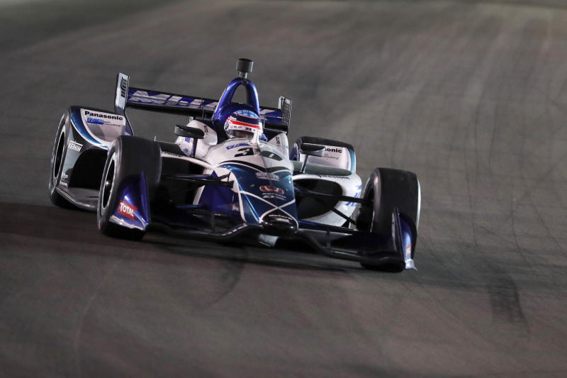 Takuma Sato enters Turn 1 during the IndyCar auto race at World Wide Technology Raceway on Saturday, Aug. 24, 2019, in Madison, Ill. Sato won the race. (AP Photo/Jeff Roberson)