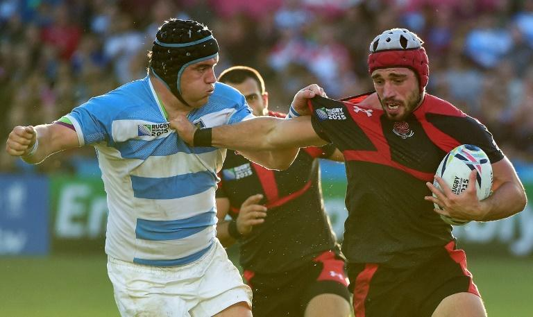Georgia's Merab Sharikadze in action at the 2015 Rugby World Cup