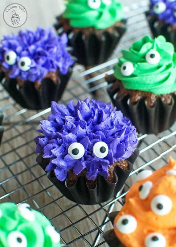 """<p>The possibilities are endless when it comes to these creatures. You can make each cake completely unique using colored frostings, icing tips, and a different number of eyes.</p><p><strong>Get the recipe at <a href=""""https://www.cupcakediariesblog.com/2015/10/monster-cupcakes.html"""" rel=""""nofollow noopener"""" target=""""_blank"""" data-ylk=""""slk:Cupcake Diaries"""" class=""""link rapid-noclick-resp"""">Cupcake Diaries</a>.</strong></p><p><strong><a class=""""link rapid-noclick-resp"""" href=""""https://go.redirectingat.com?id=74968X1596630&url=https%3A%2F%2Fwww.walmart.com%2Fip%2F3-Pack-Wilton-Candy-Eyeballs-Small%2F47237544&sref=https%3A%2F%2Fwww.countryliving.com%2Ffood-drinks%2Fg1366%2Fhalloween-cupcake-ideas%2F"""" rel=""""nofollow noopener"""" target=""""_blank"""" data-ylk=""""slk:SHOP CANDY EYES"""">SHOP CANDY EYES</a><br></strong></p>"""