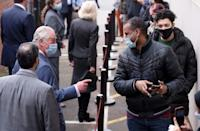 Britain's Prince Charles visits a temporary Covid-19 vaccination centre at Finsbury Park Mosque in east London