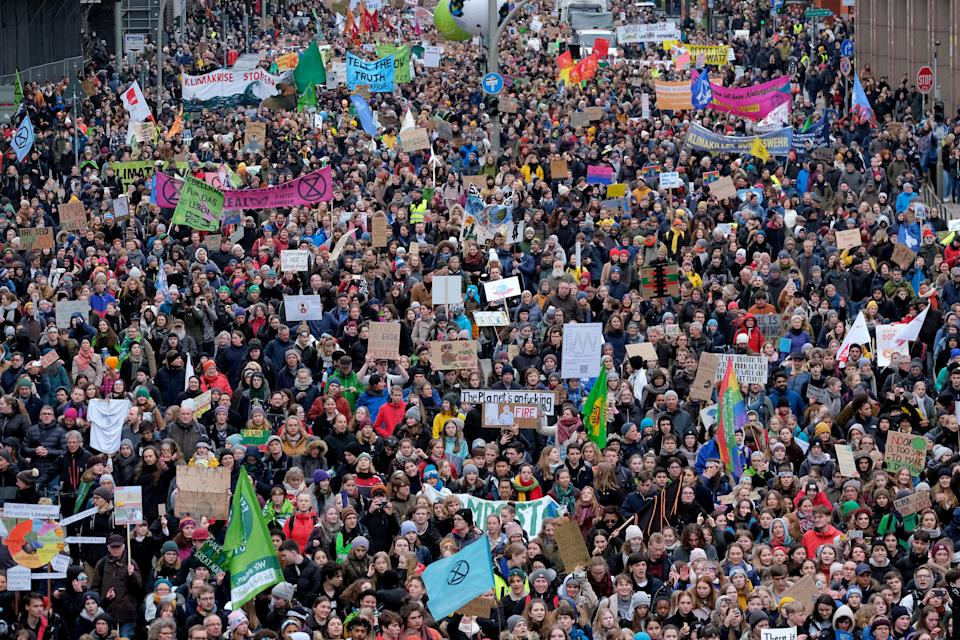 HAMBURG, GERMANY - FEBRUARY 21: Tens of thousands of marchers participate in a Fridays for Future climate protest on February 21, 2020 in Hamburg, Germany. The city-state of Hamburg is scheduled to hold elections on February 23 and climate politics are likely to play a significant role in the outcome. (Photo by Sean Gallup/Getty Images)