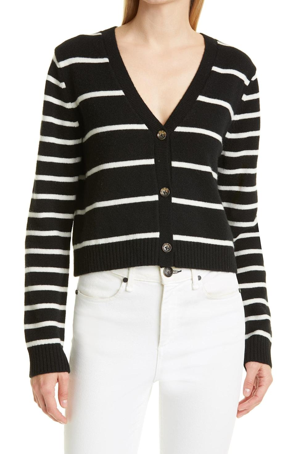 <p>Cashmere is always a good idea. This <span>La Ligne Stripe Cashmere Crop Cardigan</span> ($295) is so luxurious and will go with pretty much anything.</p>