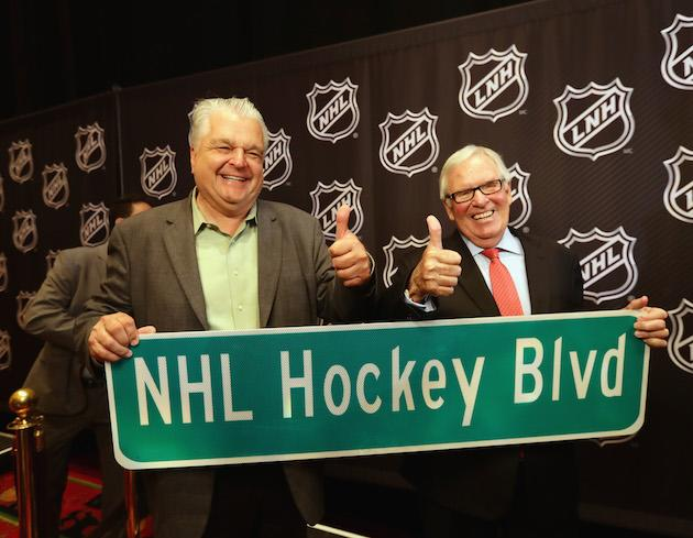 LAS VEGAS, NV - JUNE 22: (l-r) Clark County Commissioner Steve Sisolak and Bill Foley celebrate the admittance of a new NHL franchise during the Board Of Governors Press Conference prior to the 2016 NHL Awards at Encore Las Vegas on June 22, 2016 in Las Vegas, Nevada. (Photo by Bruce Bennett/Getty Images)