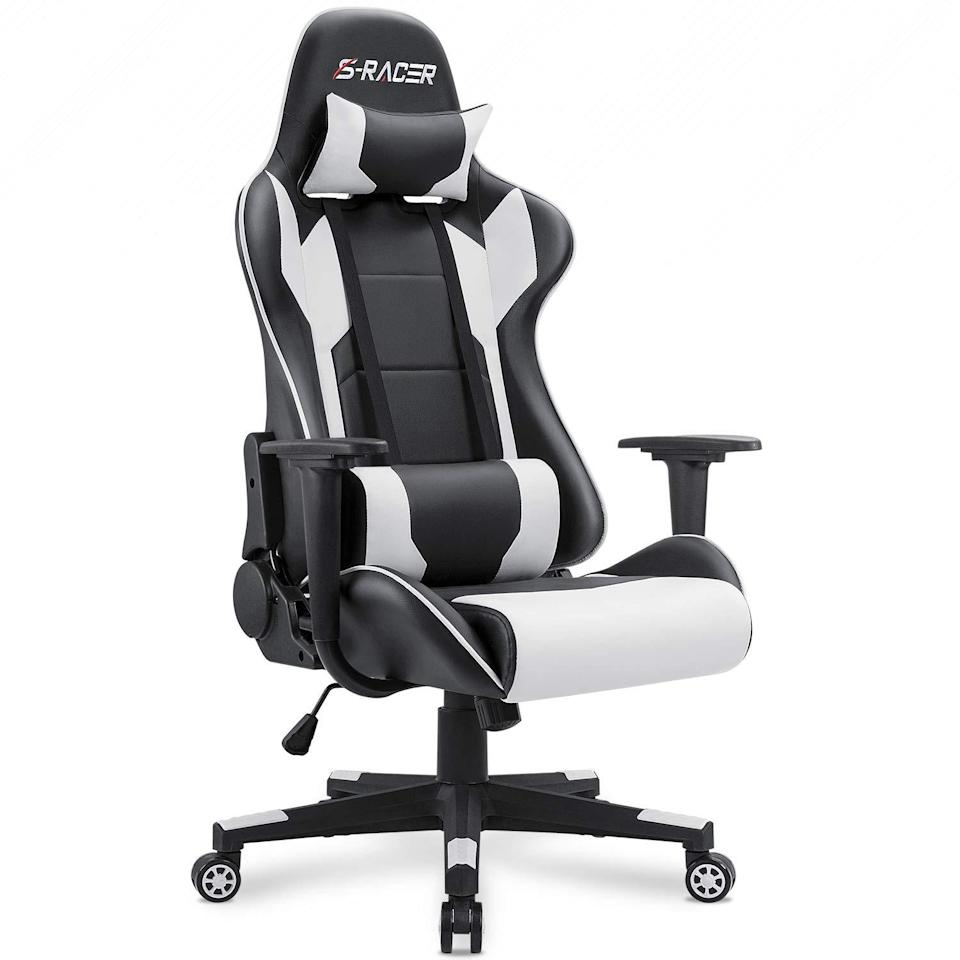 "<h2>Homall Executive Ergonomic Adjustable Swivel Task Chair</h2> <br><strong>Best For: Gamers</strong><br>This one's not for the lighthearted seat shopper. The serious gamer-approved chair with over 11,000 reviews is crafted from high-density shaping foam that provides lumbar support, 360-degree swivel capabilities, multi-directional wheels, a 300-lb weight capacity, reclining functions, and a built-in headrest. You may never leave it.<br><br><strong>The Hype: </strong>4.3 out of 5 stars and 11,389 reviews on <a href=""https://www.amazon.com/Homall-Computer-Executive-Ergonomic-Adjustable/dp/B01MRZ02TL/ref=sr_1_65"" rel=""nofollow noopener"" target=""_blank"" data-ylk=""slk:Amazon"" class=""link rapid-noclick-resp"">Amazon</a><br><br><strong>Comfy Butts Say:</strong> ""I don't really game anymore, and watching playthrough videos of classic DOOM for old time's sake doesn't count, LOL. I bought this chair because I needed to invest in something ergonomic with good back and neck support, due to a pinched nerve in my lower neck. After several iterations of gradually breaking a cheap-wad swivel desk chair every couple years, I sprung for the kind of chair gamers use for long periods of sitting and upper body movement. No more rotating the base to the right angle so I'm not leaning sideways, and never quite getting it right. No more backaches from leaning forward in a low-backed chair, or not being able to lean back and see the screen. (I also added an external display at eye level for my MacBook.) The lumbar support is like nothing I have ever experienced! This chair was easy to assemble, and the parts include the very few tools you will need. The only controls are for height and recline, so it's nice and simple, with fewer moving parts to break. And the armrest height seems about perfect.""<br><br><strong>Homall</strong> Executive Ergonomic Adjustable Swivel Task Chair, $, available at <a href=""https://amzn.to/3d4lPIx"" rel=""nofollow noopener"" target=""_blank"" data-ylk=""slk:Amazon"" class=""link rapid-noclick-resp"">Amazon</a><br><br><br><br><br><br>"