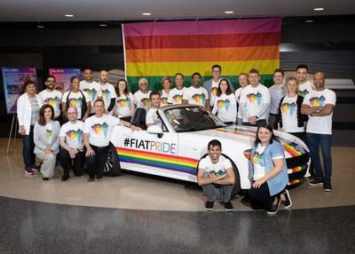 GALA members and allies with the specially-wrapped 2019 Fiat 124 Spider that will serve as the grand marshal vehicle of the Motor City Pride parade that starts at noon on June 9 and ends at Hart Plaza. An additional 2019 Fiat 124 Spider and a specially wrapped new 2019 Fiat 500X will accompany the grand marshal vehicle in the parade.