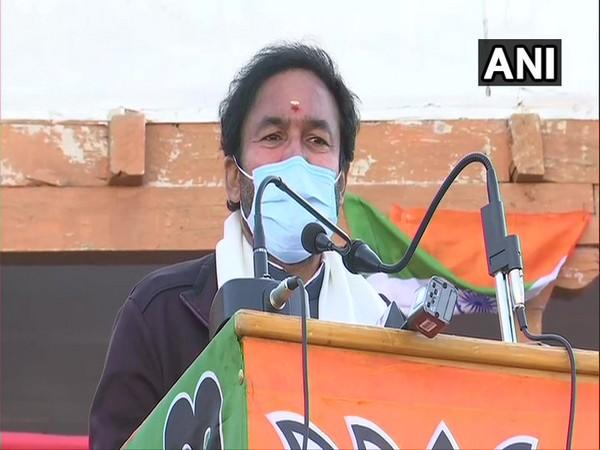 Minister of State (MoS) for Home Affairs, G. Kishan Reddy addressing public rally in Nubra Valley, Leh (Photo/ANI)